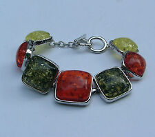 BEAUTIFUL CHUNKY BROWN YELLOW GREEN FAUX AMBER SQUARE SILVER PLATED BRACELET