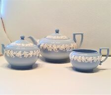 *VINTAGE* Wedgwood QUEENSWARE Cream on Lavender *TEAPOT, SUGAR & CREAM*