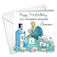 Personalised birthday gift 21st18th 40th 30th 50th Wine Gin glass charm card bag