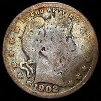 1902 25C US 90% Silver Barber Head Quarter - LIGHT TONING - GOOD (G)