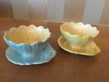 Royal Winton Grimwades Water Lily Lustre Dessert Bowls x 2 blue and lemon
