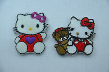 2pcs HELLO KITTY 5cm + 4cm Embroidered Iron Sew On Cloth Patch Badge Applique