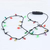 """12 PIECE LOT LIGHT UP CHRISTMAS HOLIDAY LED Bulb Flashing 30"""" NECKLACE party"""
