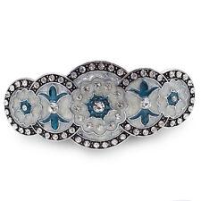 BA63 Clear Crystal Rhinestone Blue Painted Vintage Alloy Barrette Hair Clip