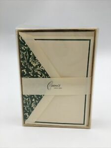 Crane's Bordered Notes 100% Cotton Paper Green Border