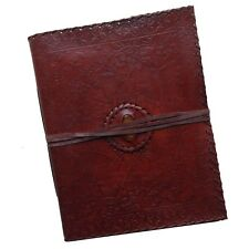 """Handmade 13"""" Floral Embossed Real Leather Photo Album Scrapbook Yellow Stone"""