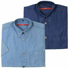 Signum Hemd Jeanshemd Freizeithemd Shirt Baumwolle Herren Kurzarm Classic Cut
