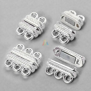 3 Pieces 12mm Hole Silver Round Magnetic Clasp,Big Size Clasp with Thicken Magnet MT12M-433
