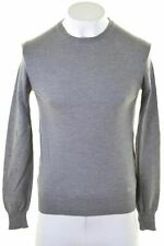 BURBERRY Mens V-Neck Jumper Sweater Small Grey Wool  HL18