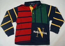 Rare Vintage NAUTICA N Logo Spell Out Striped Polo Rugby Shirt 90s Toddler SZ 4