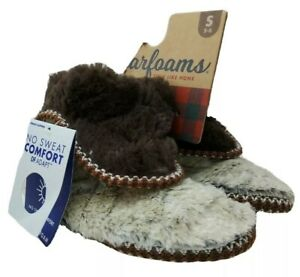 Dearfoams Beth Foldover Faux Fur Beige & Brown In/Outdoors Slippers Women S 5/6