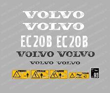 Volvo EC20B Aufkleber Bagger Komplettset mit Sicherheit Warnung