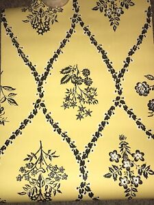 Vintage Wallpaper Roll 1930's Art Deco yellow Floral