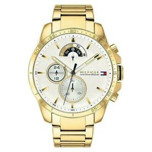 TOMMY HILFIGER MENS WATCH 1791538 GOLD STAINLESS STEEL BRACELET NEW