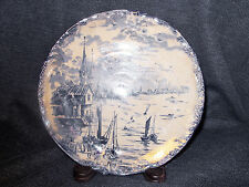 "Rare Antique Flow Blue Empire Works 1900 Porcelain 8"" Plate Sailing Scene EUC UK"