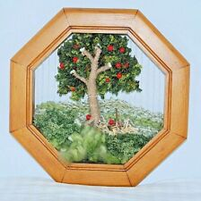 3D Wool Jute Woven Apple Tree Textile Fiber Wall Hanging Art Octagon Wood Frame