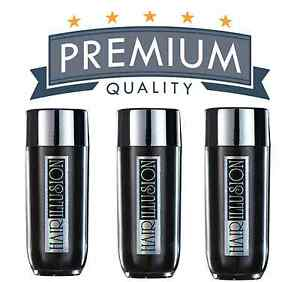 3x HAIR ILLUSION Hair Building Fibers-Unisex Hair Loss Thinning Treatment-BLACK