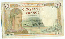 1938 50 Francs (France) Note -  Fine/Very Fine (Catalouge # 85B)