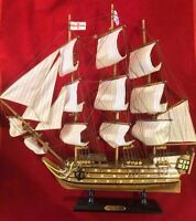 "HMS Victory Lord Nelson's Flagship Wood Tall Ship Model 21"" x 23"" Built Boat"