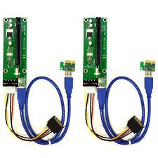 MintCell 2-Pack 4-Pin MOLEX PCIe PCI-E Express 1X to 16X 60cm USB Riser Adapter