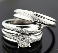 His and Her Rings Set 1ctw CZ White gold Tone Silver 3pc Set Wedding Ring Set