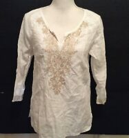 Symple NYC Tunic Top S White Beige Embroidery V-Neck Long Sleeve 100% Linen