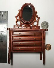 "1:12 7"" Tall Town Square Miniature Furniture Mahogany Tilting Mirror Dresser #S"