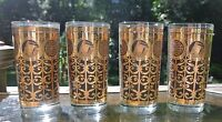 4Libbey Mid Century Black/Gold Highball Glasses Rock of Gibraltar Prudential12oz
