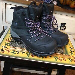Merrell black women's Sz  7.5 waterproof lace boots. opti warm 400 g thinsulate