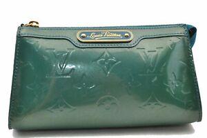 Authentic Louis Vuitton Monogram Vernis Trousse Cosmetic Pouch Green LV 0724A
