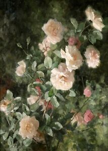 19th CENTURY LARGE FRENCH OIL ON CANVAS - STUDY OF WHITE ROSES IN LANDSCAPE