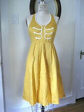 FLOREAT Anthropologie 'Anchors Aweigh' Yellow Halter Sun Dress, Cotton, Size 4