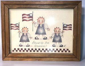 Framed Stand Up For America Red Blue Patriotic Folk  Art Mimi Vintage Flags GUC