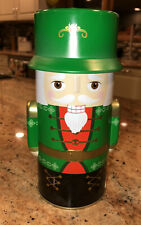 "Nutcracker Toy Soldier Green Christmas Tin Approx 8"" Tall Holiday Decorations EC"