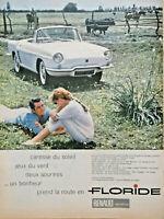 PUBLICITÉ DE PRESSE 1959 PRENDRE LA ROUTE EN RENAULT FLORIDE