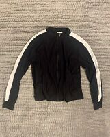 ZARA WOMAN Silky Black Bomber Sports Luxe Jacket with White Stripe Small