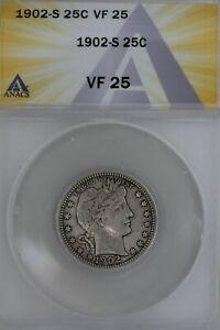 1902-S  .25  ANACS  VF 25   Barber Quarter, Liberty Head Quarter, Barber 25c,