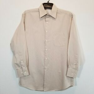 CONCEPTS By CLAIBORNE Mens Beige Striped Dress Shirt Size 15 1/2 Long Sleeve