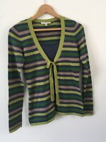 Laura Ashley Long Sleeved Top Cardigan Size 10 Navy Green Stripe