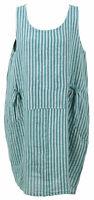 Womens Ladies Italian Lagenlook Linen Stripy Print 2Pocket Sleeveless Vest Dress
