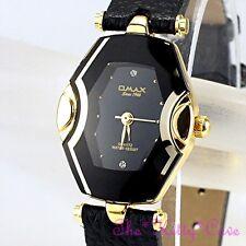 Schweizer OMAX Damen Gold & Schwarz Dünn Seiko Uhrwerk Spiegelglas Leder Uhr