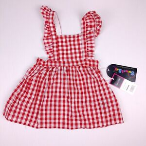 Sweet and Soft Paris Pinafore Dress Size 9M Red Gingham Cottagecore
