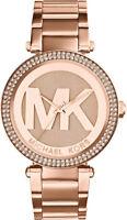 NEW MICHAEL KORS MK5865 Parker Pave Dial Rose Gold Tone Ladies Wrist Watch