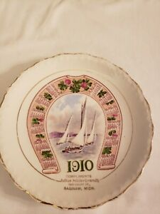 Antique Vtg Advertising Calendar Plate 1910 Horseshoe/Boats Carnation McNicol
