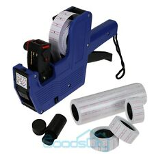 Blue MX-5500 8 Digits Price Tag Gun + 5000 White w/ Red lines labels + 1 ink