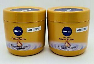 Nivea Body Cream Deep Moisture Serum with Cocoa Butter & Vitamin E 400ml Tub X2