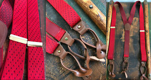 VTG PELICAN USA STRETCHY SUSPENDERS RED BLUE BRACES BROWN LEATHER BRASS STUDS