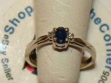 10K SOLID WHITE GOLD NATURAL Blue Sapphire Diamond Solitaire Ring 1.5Gms Sze5.75