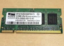 ProMOS 512MB DDR2 667mhz PC2-5300S 8-Chip 2Rx16 200-Pin Laptop RAM Fast Shipping