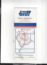 Britt Airways   August  1 1984  timetable